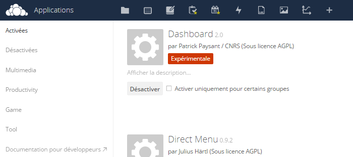 Fichier:Administration Dashboard Owncloud.png